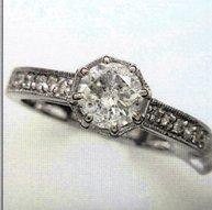 Ladies White Gold Ring with.1 Carat Center Diamond