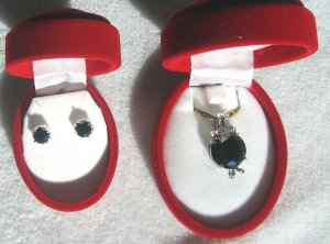 Sterling Silver Pendant and Earring Set with Black Cubic Zirconium Stones