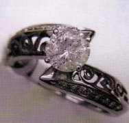Ladies 14K White Gold Ring with a 1.05 carat center diamond