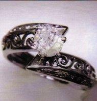Ladies White Gold Ring with .99 Carat Diamond