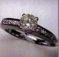Ladies 18K WG Ring with .96 Carat Center Diamond