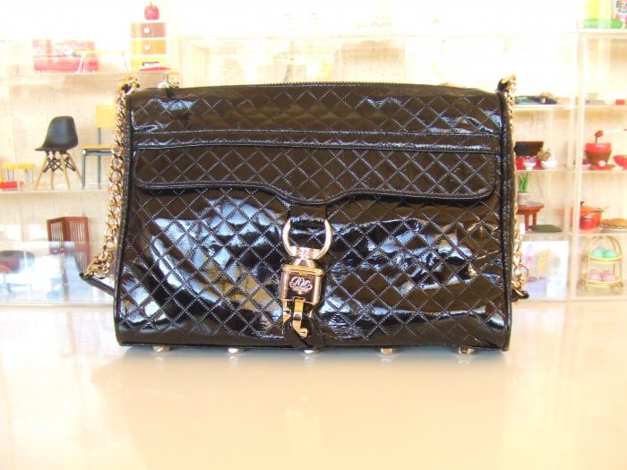 Rebecca Minkoff Morning After Clutch MAC in Black Quilted Patent *FREE SHIPPING*