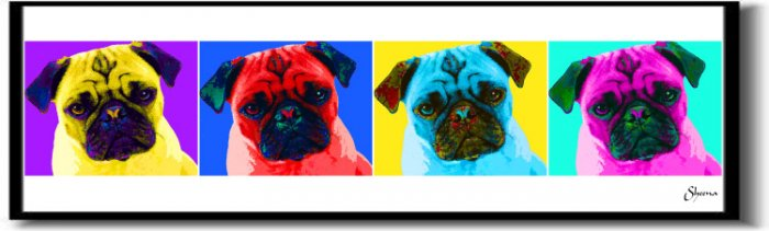 Original Pop Art Pug Dog Huge Panoramic Print