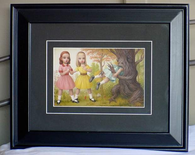 MARK RYDEN GIRL EATEN BY TREE FRAMED LOWBROW ARTWORK