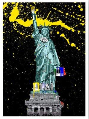 Mr Brainwash American Graffiti Paint Splash NYC Statue Liberty Paint Brush Art