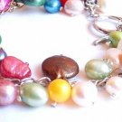 Multi Color Pearl Necklace and Bracelet Set