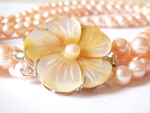 Three Strand Freshwater Peach Pearl Necklace