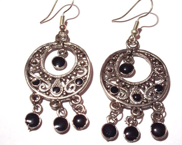 Bollywood Inspired Earrings in Black and Silver