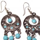 Bollywood Inspired Earrings in Light Blue and Silver
