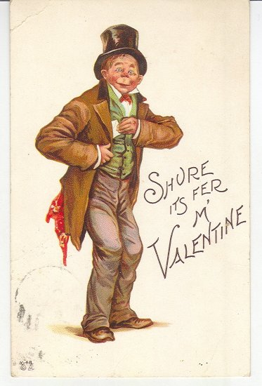 Brundage-Valentine Postcard-Man in Top Hat-Tophat