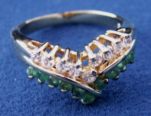 GOLD OVER STERLING SILVER SIM DIAMONDS & EMERALDS RING