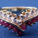 GOLD OVER STERLING SILVER SIM DIAMONDS & RUBIES RING