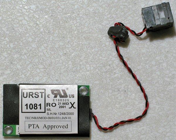 TOSHIBA PORTEGE 3500 3505 MODEM W/ JACK & CABLE ASKEY