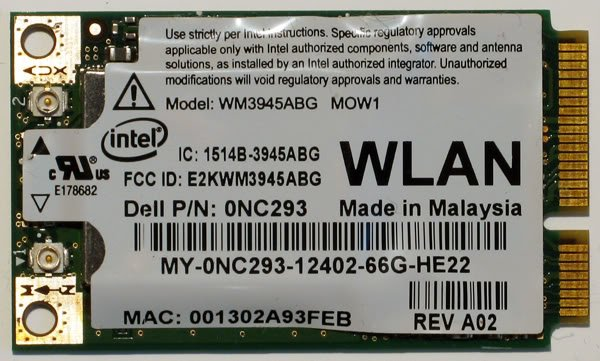 DELL 6400 E1505 A B G MINI PCI WiFi CARD 0NC293 NC293
