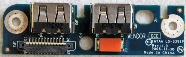 OEM TOSHIBA SATELLITE A135-S4227 DUEL USB PORT LS-3391P