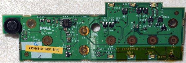 DELL INSPIRON 8000 8100 LATITUDE C800 C810 C840 POWER BUTTON LED BOARD 18GHW / 018GHW