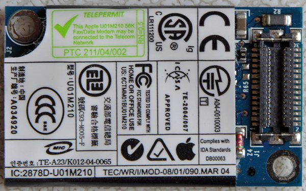 "POWERBOOK G4 A1095 iBOOK G4 12"" 14"" PCI MODEM U01M210"