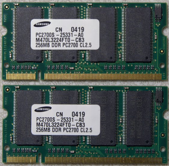 HP ZE2000 COMPAQ 2100 2200 512MB RAM (2X256) PC2700 DDR 333MHz