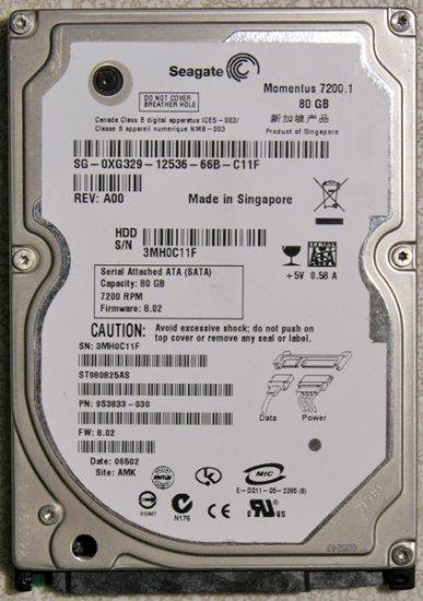 DELL INSPIRON 1520 1521 80GB 7200RPM SEAGATE HD HARD DRIVE XG329 / 0XG329
