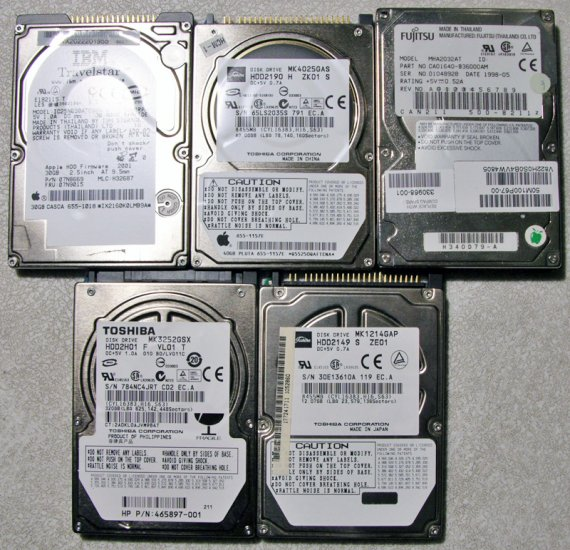 LOT OF 5 HARD DRIVE 320GB 40GB 30GB TOSHIBA IBM FUJITSU
