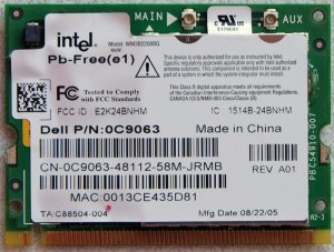 DELL INSPIRON 6000 PCI INTEL WIFI WIRELESS CARD 0C9063