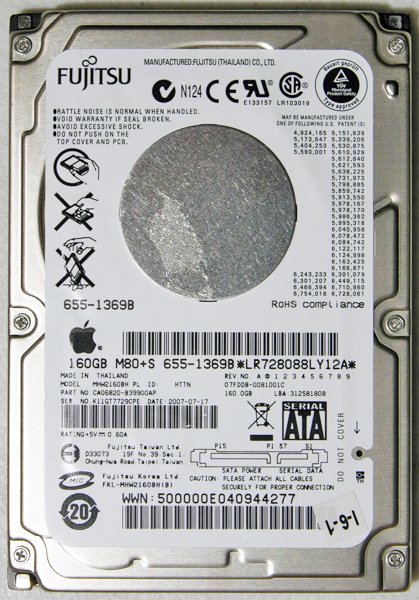 OEM APPLE MACBOOK / PRO 160GB HD HARD DRIVE 655-1369B