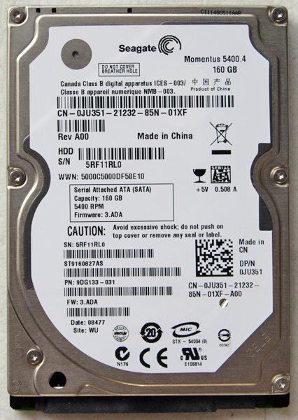 ELL SEAGATE 160GB 5400RPM HD HARD DRIVE JU351 / 0JU351