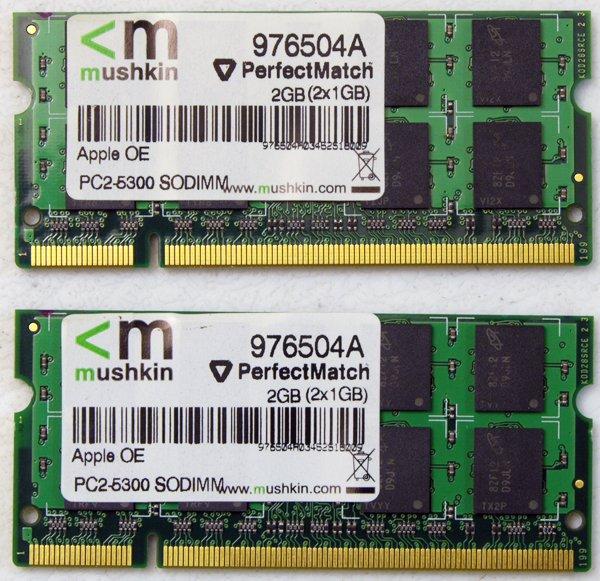 """MUSHKIN OEM APPLE MACBOOK PRO 13"""" 15"""" 17"""" 2GB (2x1GB) RAM PC2-5300S 976504A"""
