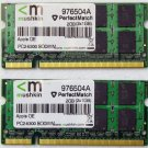 "MUSHKIN OEM APPLE MACBOOK PRO 13"" 15"" 17"" 2GB (2x1GB) RAM PC2-5300S 976504A"