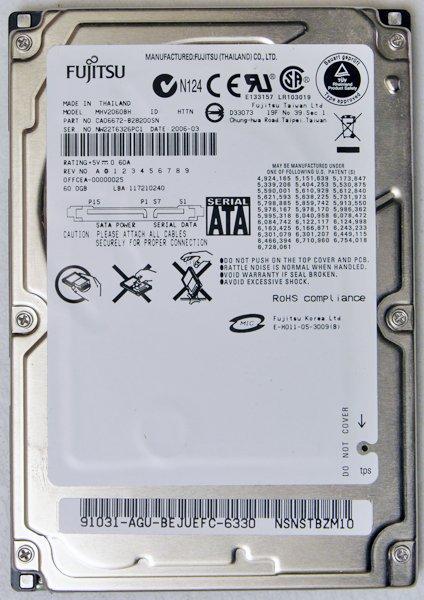 COMPAQ PRESARIO V5000 FUJITSU 60GB HD HARD DRIVE MHV2060BH 5400 RPM SATA