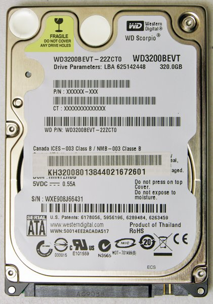 GATEWAY M SERIES SA1 SA6 320GB 7200RPM HD HARD DRIVE WD3200BEVT w/ RECOVERY