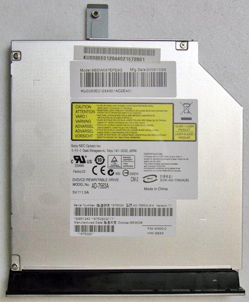 GATEWAY M SERIES SA1 SA6 DVD±RW w/ LABEL FLASH DRIVE AD-7563A 9SDW087EFE5G