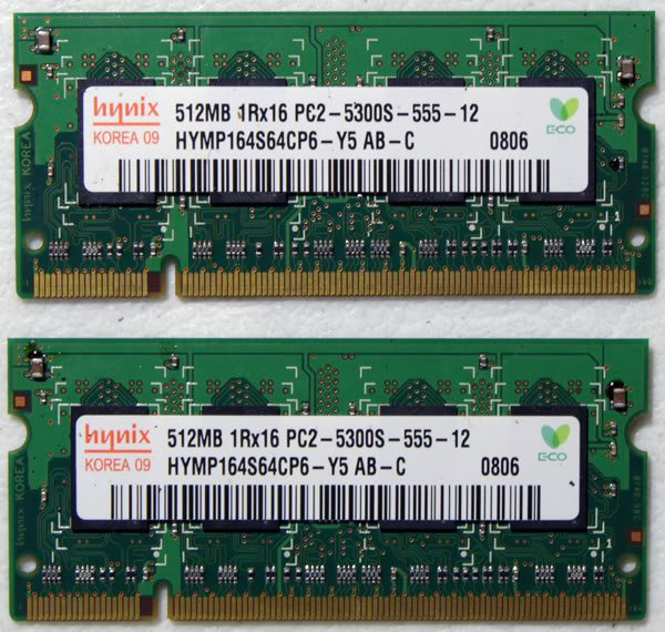 DELL XPS M1210 (1GB 2X512) RAM PC2-5300S HYMP164S64CP6