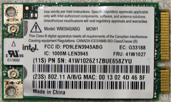 IBM T60 T60P X60 R60 ABG PCI WiFi WIRELESS CARD 41W1027