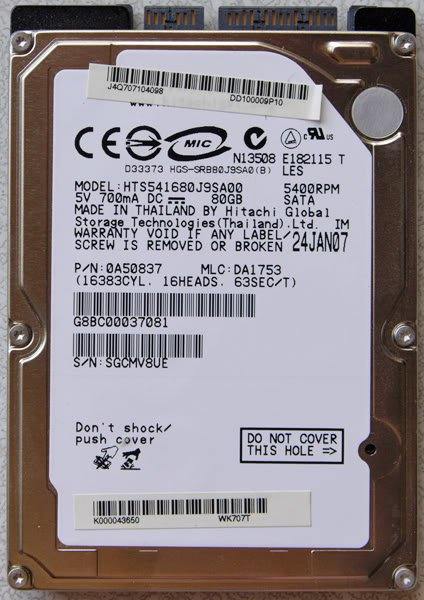 OEM TOSHIBA A135 K000043650 80GB HD HARD DRIVE 5400RPM