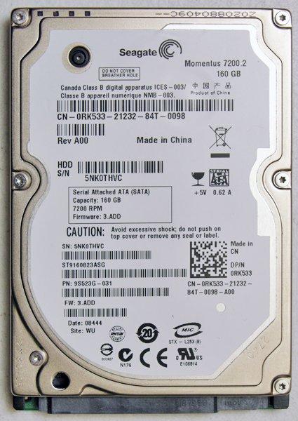 SEAGATE DELL 1400 1420 1525 1500 160GB 7200RPM HD HARD DRIVE 0RK533 RK533
