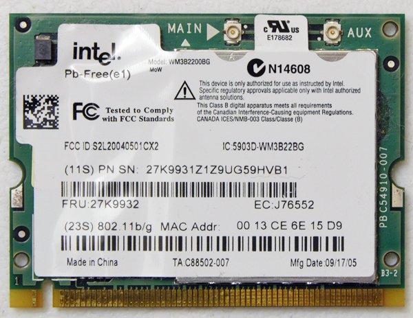 IBM THINKPAD T40 T41 T42 T42 X30 X31 X32 802.11 B/G WiFi WIRELESS CARD 27K9932