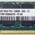 TOSHIBA R500 2GB HYNIX RAM 2Rx8 PC2-5300S-555-12 HYMP125S64 V000120860 667MHz