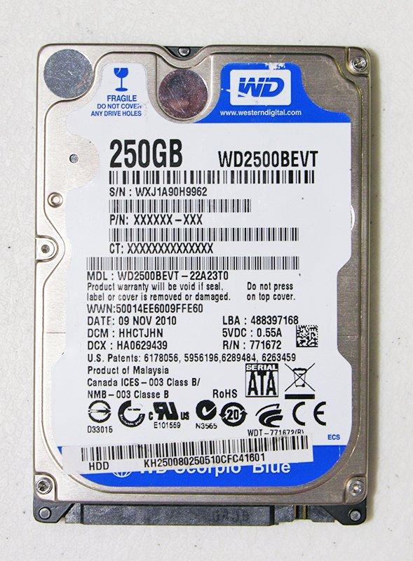 GENUINE OEM TOSHIBA SATELLITE A305 250GB 5400RPM WD2500BEVT WD SCORPIO BLUE