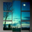 The Evening Sky in Blues Full Moon Brightly Lit NightOil Painting on Canvas  (22241057882)