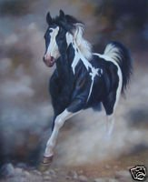 Galloping in the Mist Oil Painting on Canvas  (22232512115)