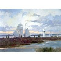 Light House Oil Painting on Canvas  Tall Ship Sultry Weather (g66078930ttps)