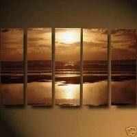 Calming Earthy Tones Sea Scene Oil Painting on Canvas Suit Neutral Decor(g66114096ttps)