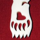 "Bear on Bear Paw Polished Bone Pendant 2.5"" x 1.25"""