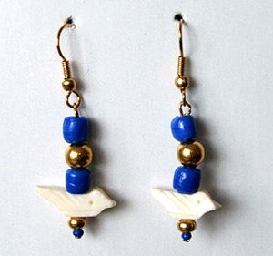 Earrings White Birds & Blue Beads Native American Iroquois