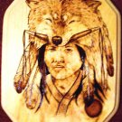 Native American Woodburning Art The Hunter 9x11""