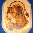 Native American Woodburning Art Two Bears 9x11""