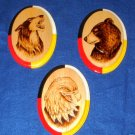 Wolf Bear Eagle Native American Woodburning Art 3 pc set