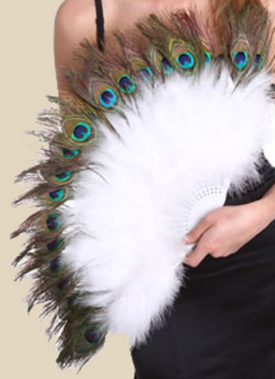 """Feather Fan with Peacock Eyes 15""""x27"""" White"""