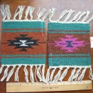 "2 Coasters Table Rugs 6x6"" Wool Fringed Southwest #40"